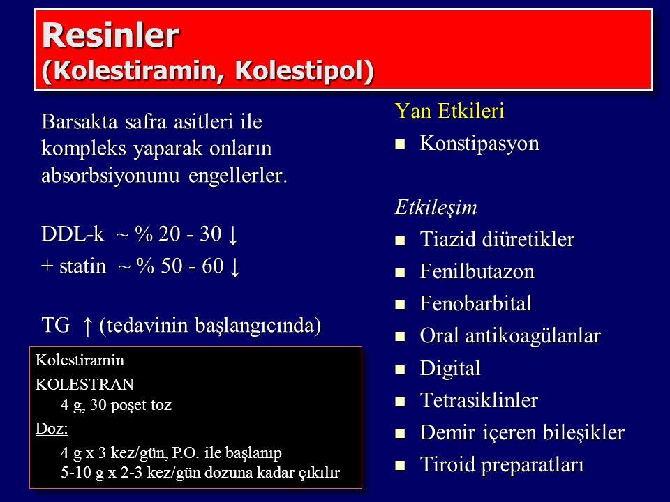 Resinler (Kolestiramin, Kolestipol)