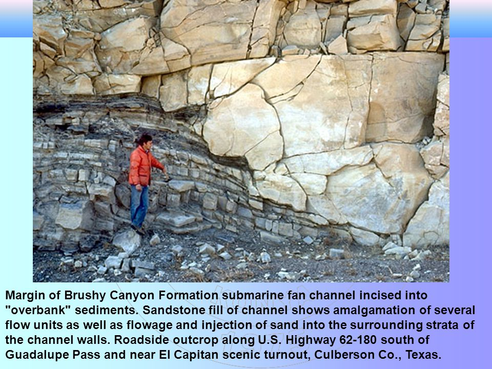 Margin of Brushy Canyon Formation submarine fan channel incised into overbank sediments. Sandstone fill of channel shows amalgamation of several flow units as well as flowage and injection of sand into the surrounding strata of the channel walls. Roadside outcrop along U.S. Highway 62-180 south of Guadalupe Pass and near El Capitan scenic turnout, Culberson Co., Texas.