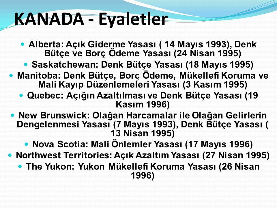 KANADA - Eyaletler Alberta: Açık Giderme Yasası ( 14 Mayıs 1993), Denk Bütçe ve Borç Ödeme Yasası (24 Nisan 1995)