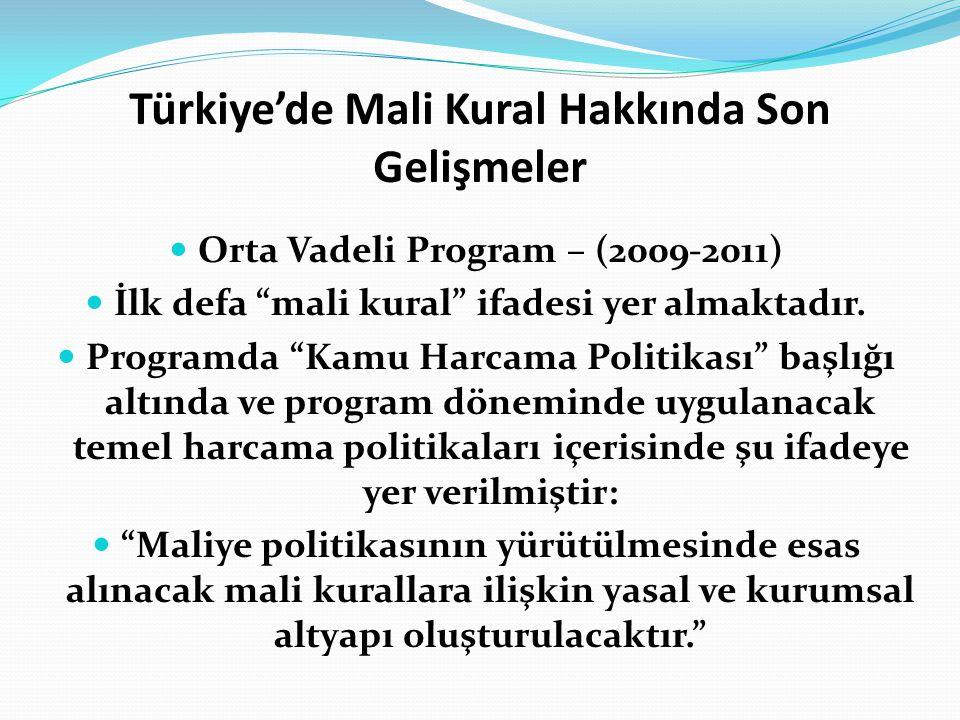 Türkiye'de Mali Kural Hakkında Son Gelişmeler