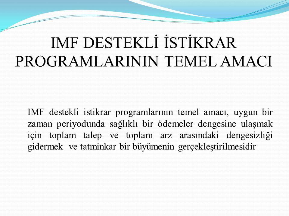 IMF DESTEKLİ İSTİKRAR PROGRAMLARININ TEMEL AMACI