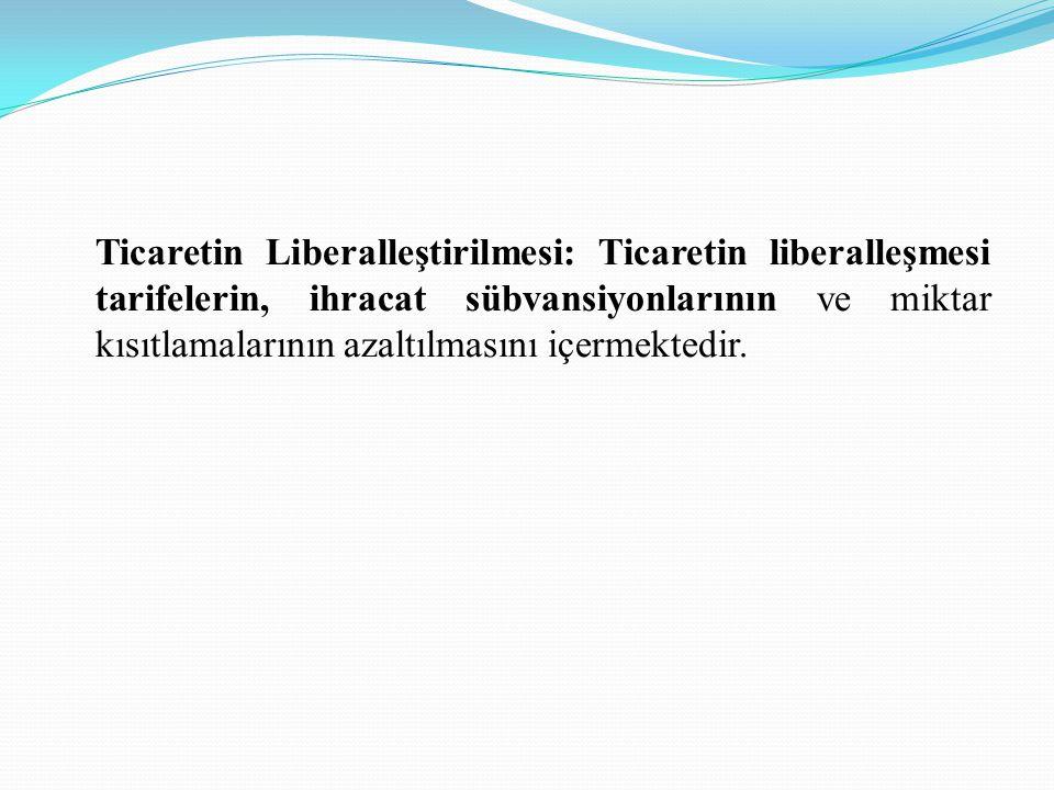 Ticaretin Liberalleştirilmesi: Ticaretin liberalleşmesi tarifelerin, ihracat sübvansiyonlarının ve miktar kısıtlamalarının azaltılmasını içermektedir.