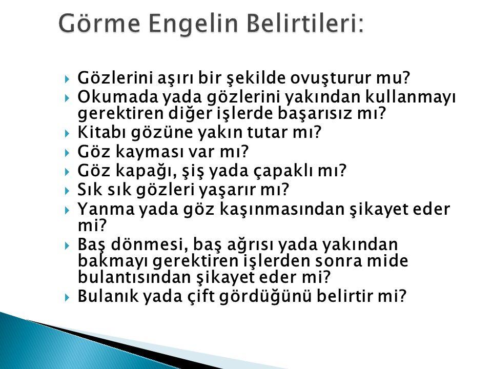 Görme Engelin Belirtileri: