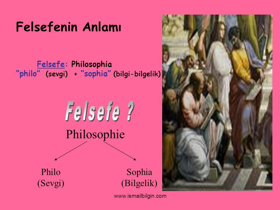 Felsefenin Anlamı Philosophie Philo (Sevgi) Sophia (Bilgelik)