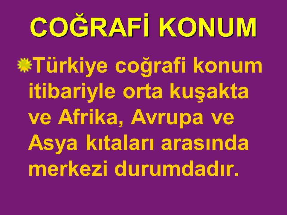 COĞRAFİ KONUM Türkiye coğrafi konum itibariyle orta kuşakta ve Afrika, Avrupa ve Asya kıtaları arasında merkezi durumdadır.