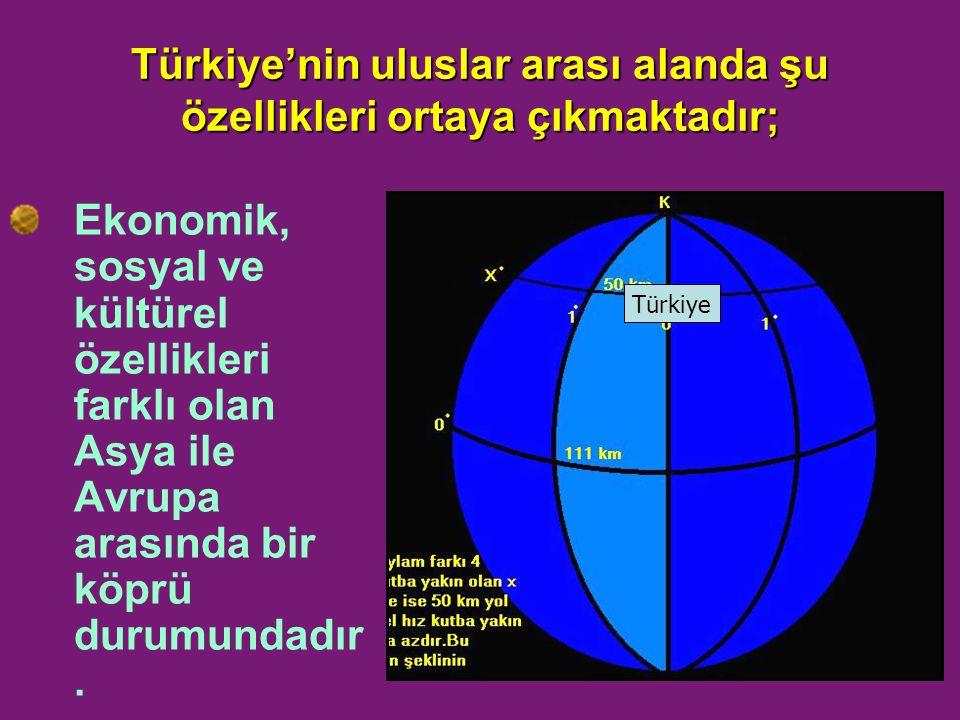 Türkiye'nin uluslar arası alanda şu özellikleri ortaya çıkmaktadır;