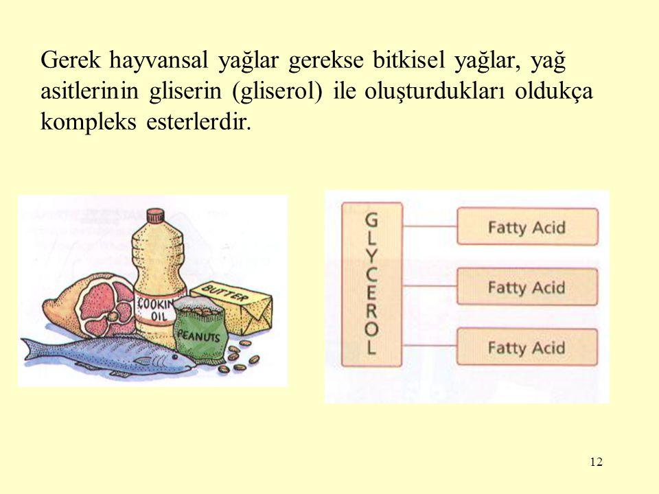 Gerek hayvansal yağlar gerekse bitkisel yağlar, yağ asitlerinin gliserin (gliserol) ile oluşturdukları oldukça kompleks esterlerdir.