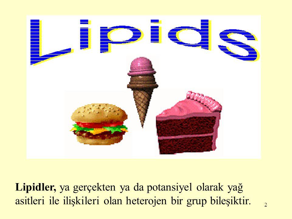 Lipidler, ya gerçekten ya da potansiyel olarak yağ asitleri ile ilişkileri olan heterojen bir grup bileşiktir.