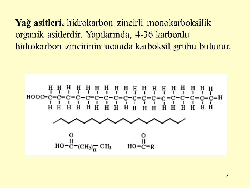 Yağ asitleri, hidrokarbon zincirli monokarboksilik organik asitlerdir