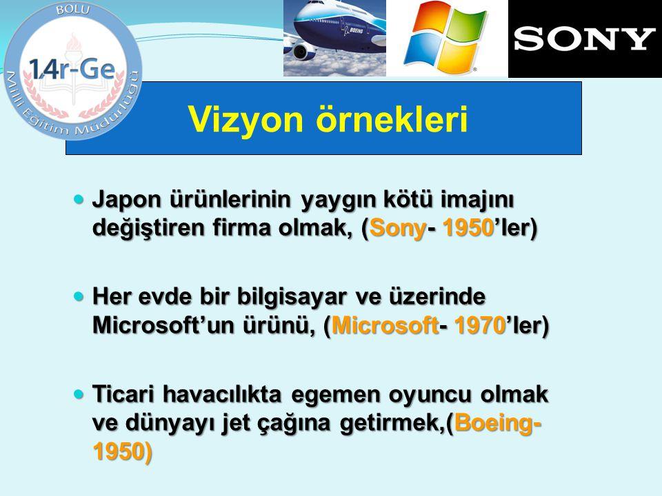 Vizyon örnekleri Japon ürünlerinin yaygın kötü imajını değiştiren firma olmak, (Sony- 1950'ler)