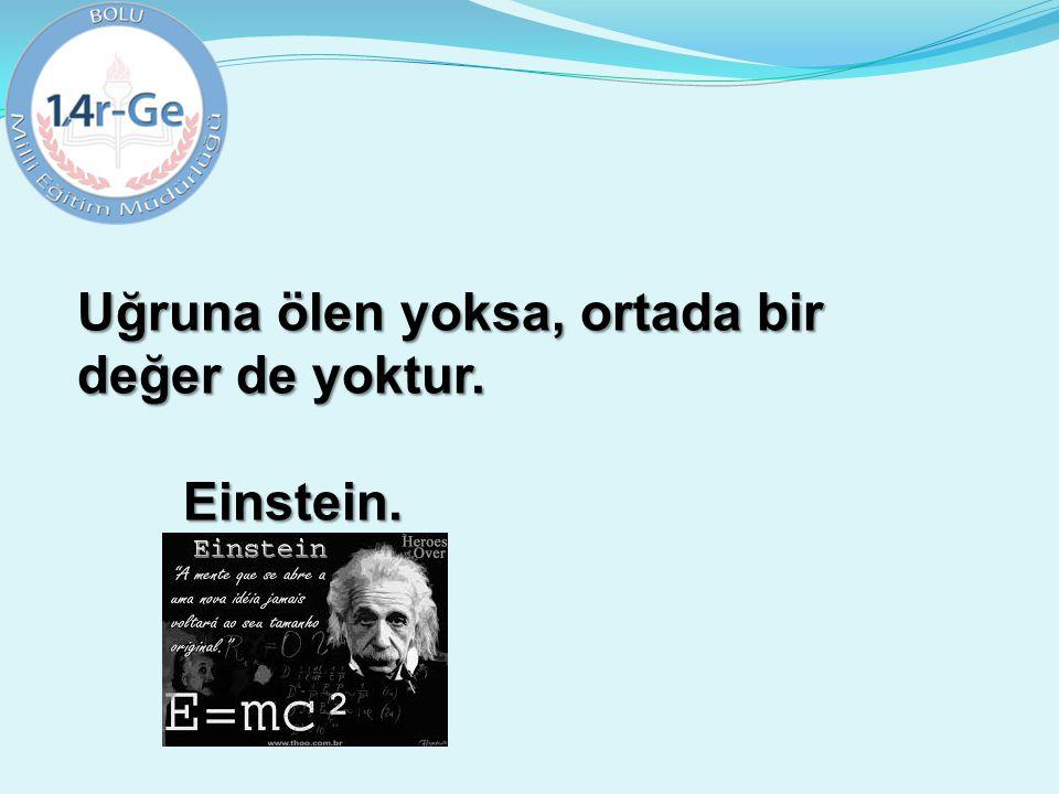 Uğruna ölen yoksa, ortada bir değer de yoktur. Einstein.