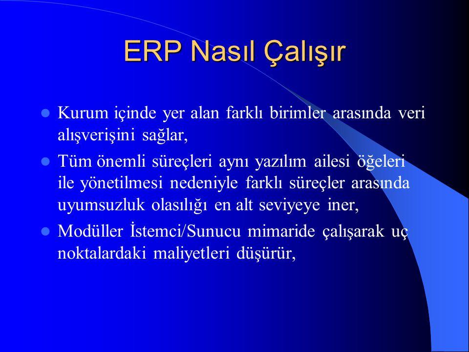 ERP Nasıl Çalışır Kurum içinde yer alan farklı birimler arasında veri alışverişini sağlar,