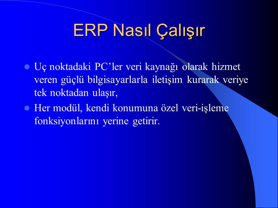 ERP Nasıl Çalışır Uç noktadaki PC'ler veri kaynağı olarak hizmet veren güçlü bilgisayarlarla iletişim kurarak veriye tek noktadan ulaşır,