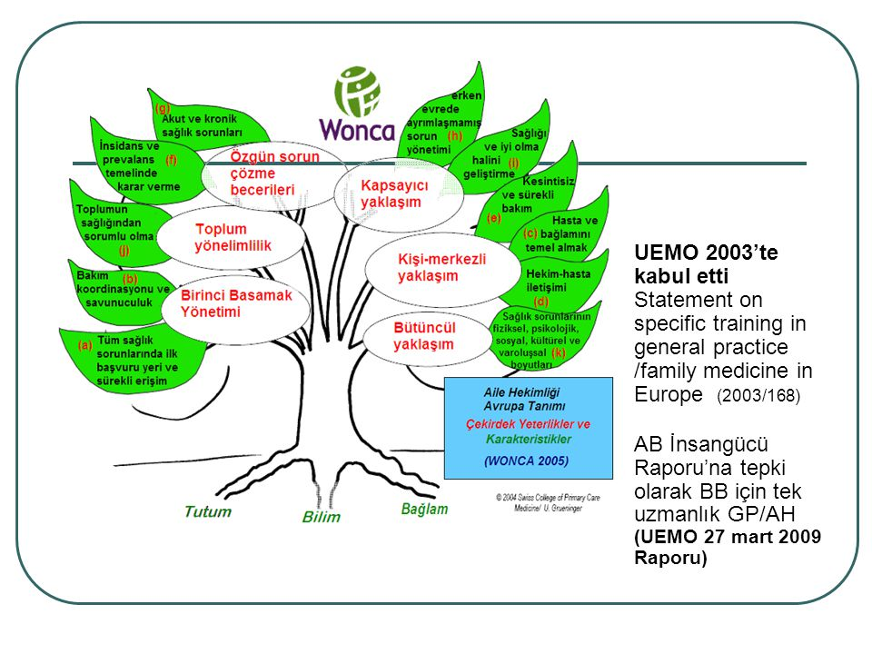 UEMO 2003'te kabul etti Statement on specific training in. general practice /family medicine in Europe (2003/168)