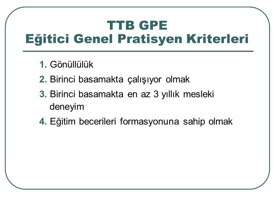 TTB GPE Eğitici Genel Pratisyen Kriterleri