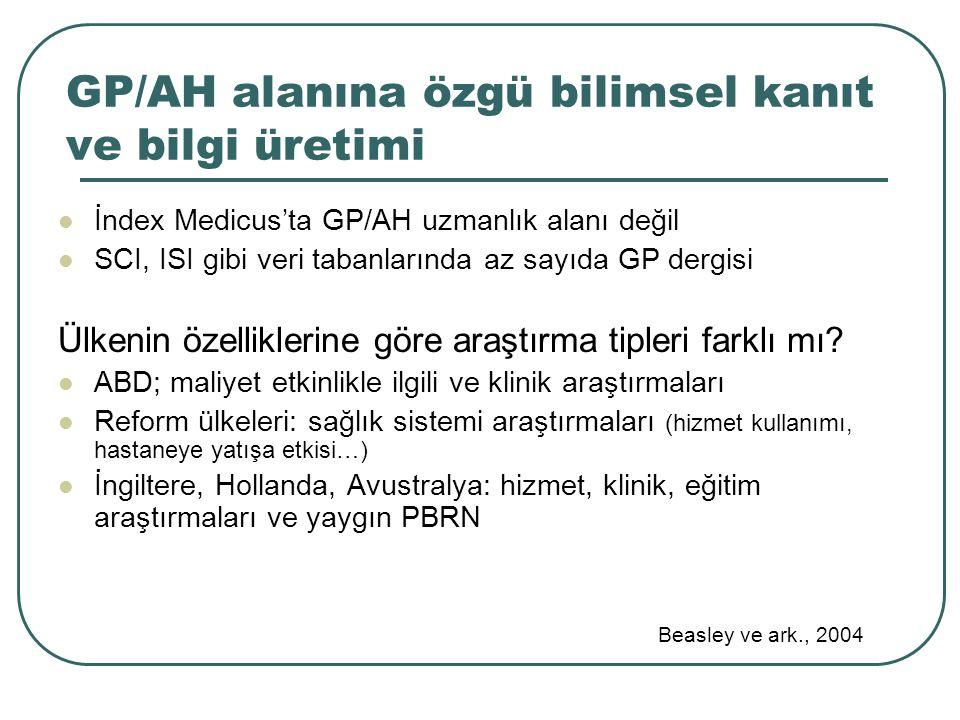 GP/AH alanına özgü bilimsel kanıt ve bilgi üretimi