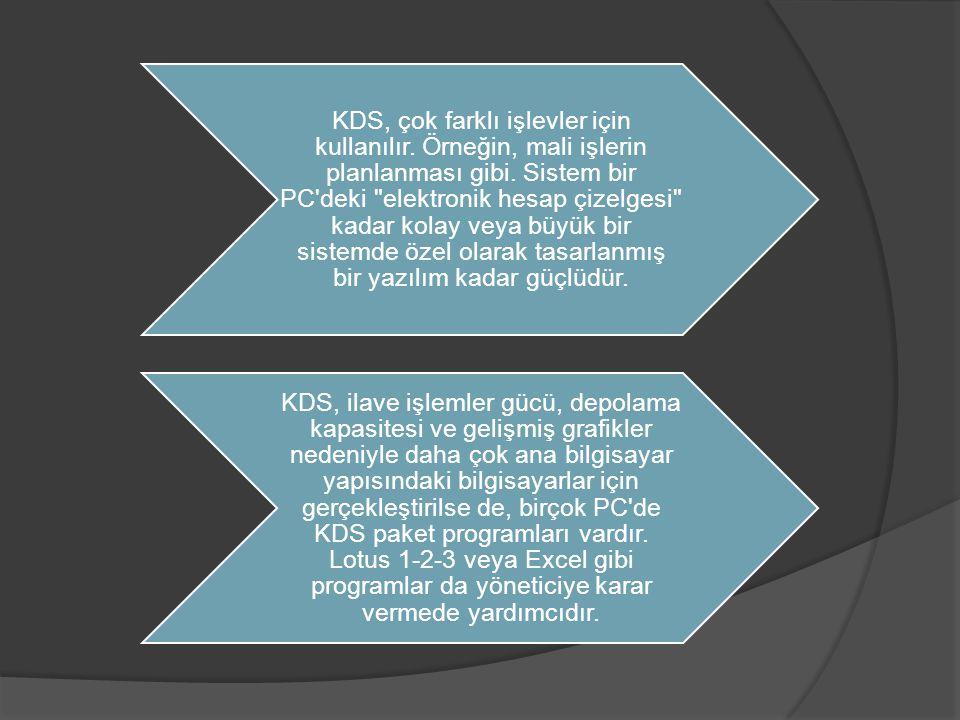 KDS, çok farklı işlevler için kullanılır