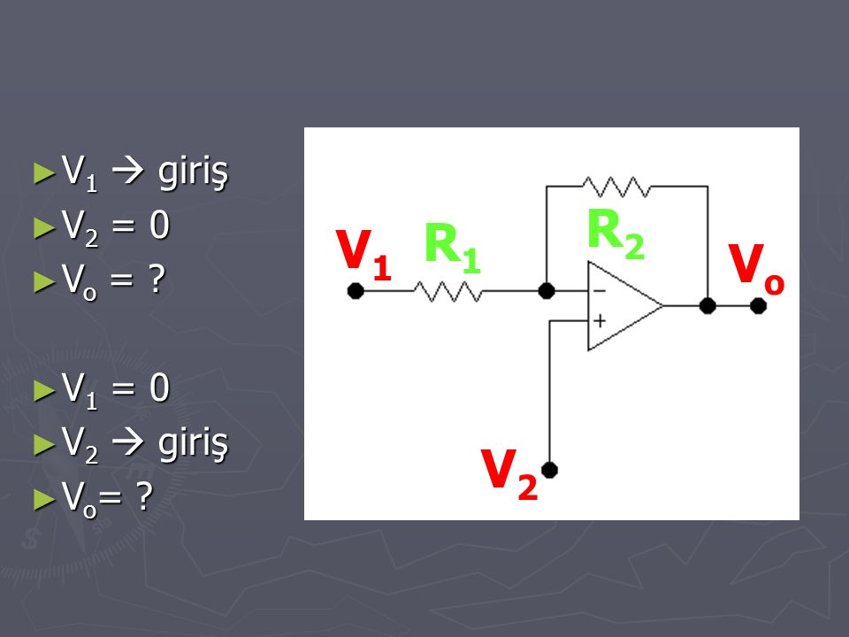 V1  giriş V2 = 0 Vo = V1 = 0 V2  giriş Vo= R2 R1 V1 Vo V2