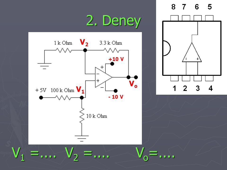 2. Deney V2 +10 V Vo V1 - 10 V V1 =.... V2 =.... Vo=....