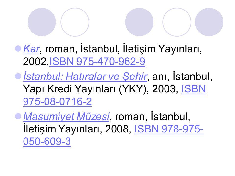 Kar, roman, İstanbul, İletişim Yayınları, 2002,ISBN 975-470-962-9