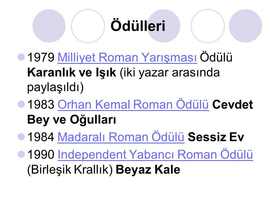 Ödülleri 1979 Milliyet Roman Yarışması Ödülü Karanlık ve Işık (iki yazar arasında paylaşıldı) 1983 Orhan Kemal Roman Ödülü Cevdet Bey ve Oğulları.