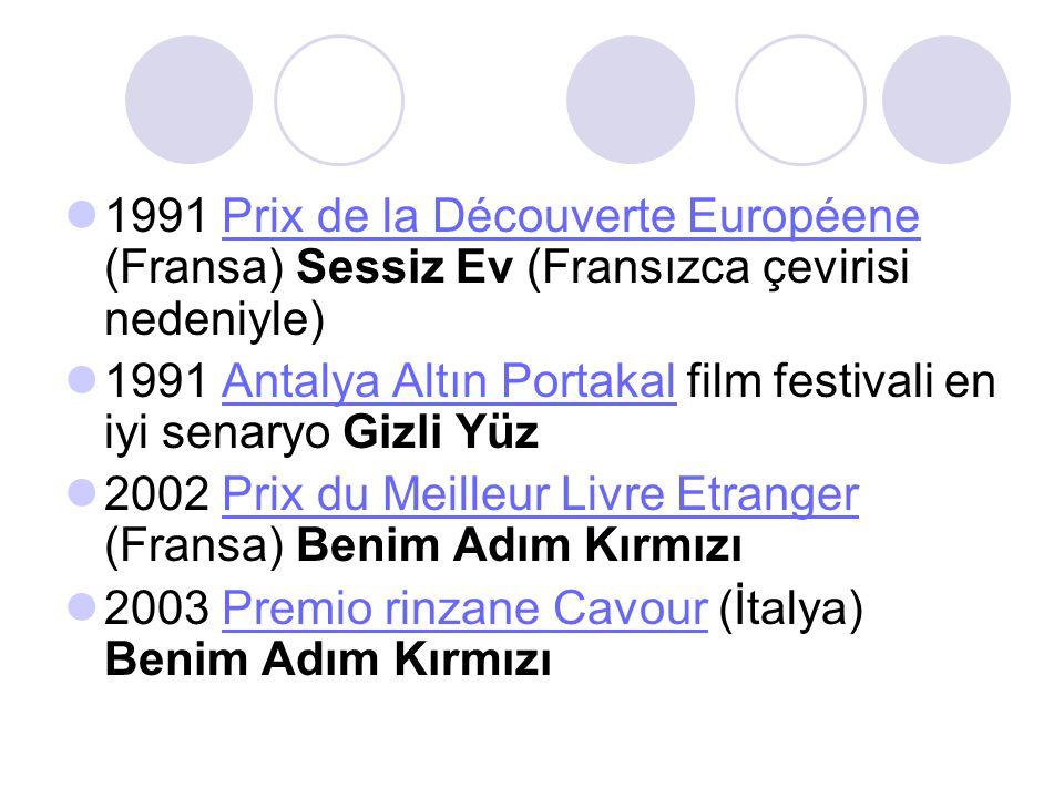 1991 Prix de la Découverte Européene (Fransa) Sessiz Ev (Fransızca çevirisi nedeniyle)