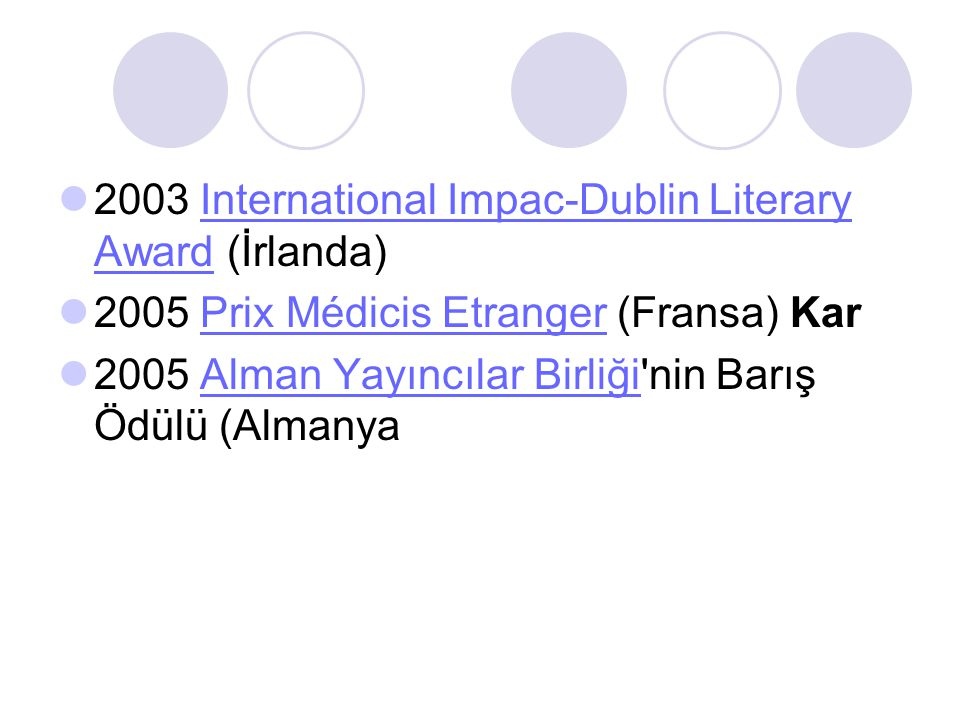 2003 International Impac-Dublin Literary Award (İrlanda)