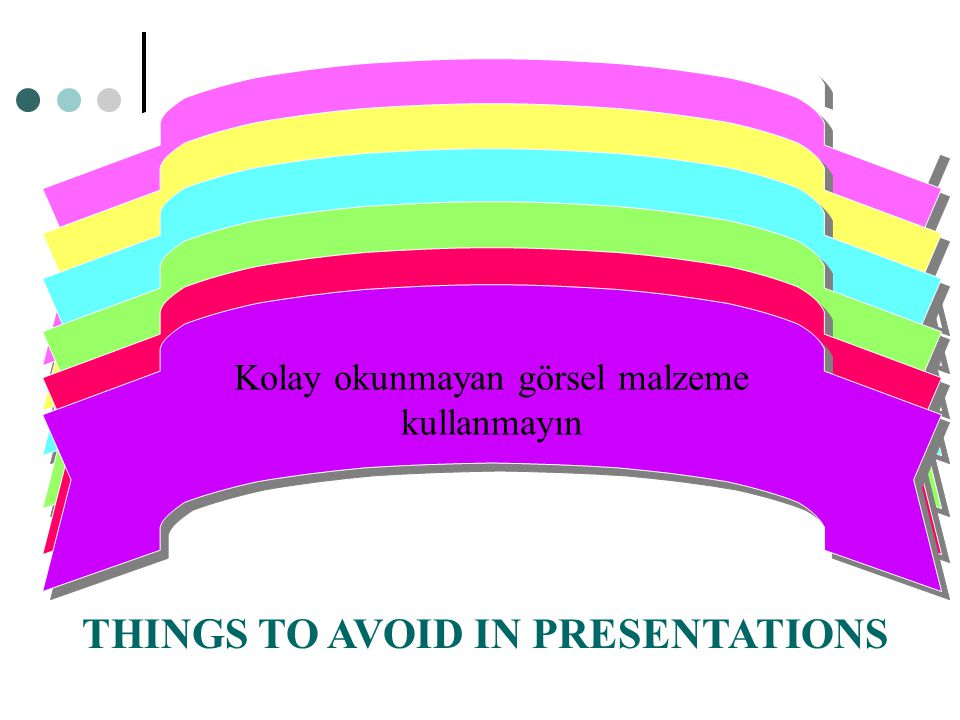 THINGS TO AVOID IN PRESENTATIONS