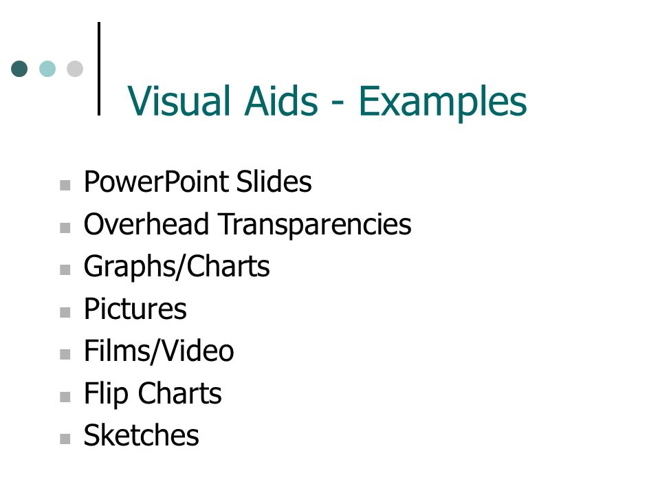 Visual Aids - Examples PowerPoint Slides Overhead Transparencies