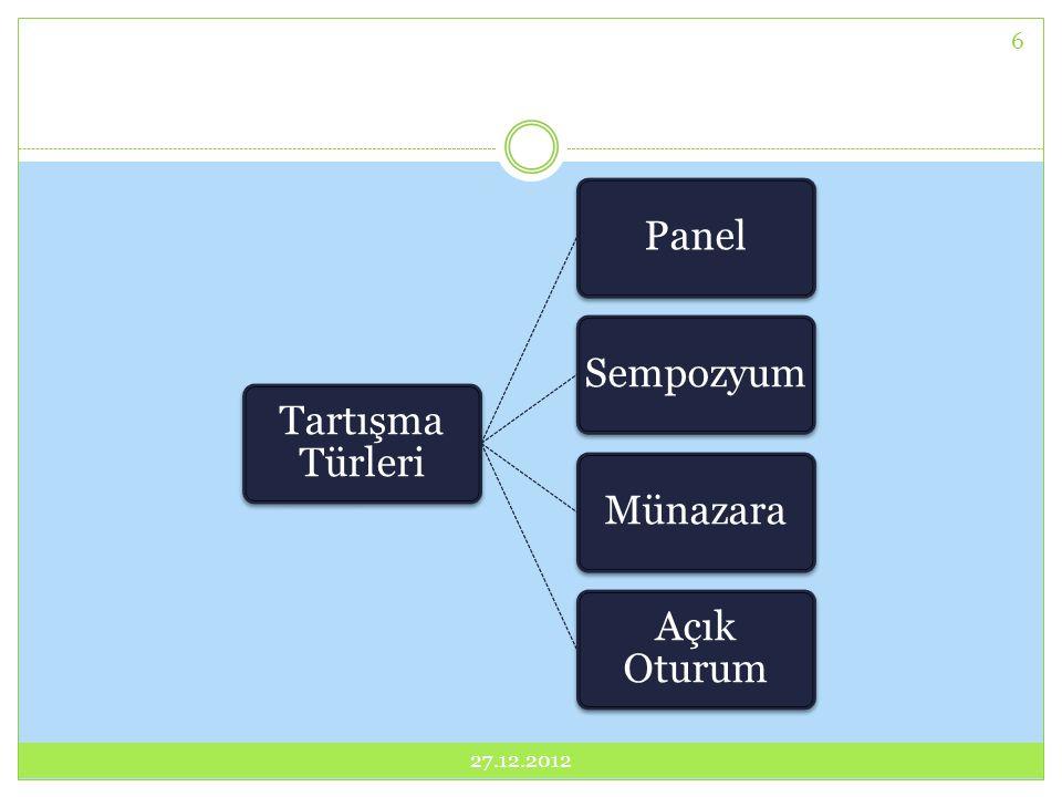 27.12.2012 27.12.2012 Tartışma Türleri Panel Sempozyum Münazara