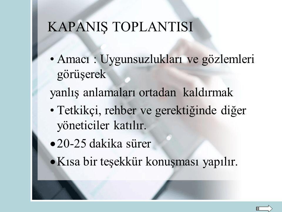 KAPANIŞ TOPLANTISI Amacı : Uygunsuzlukları ve gözlemleri görüşerek