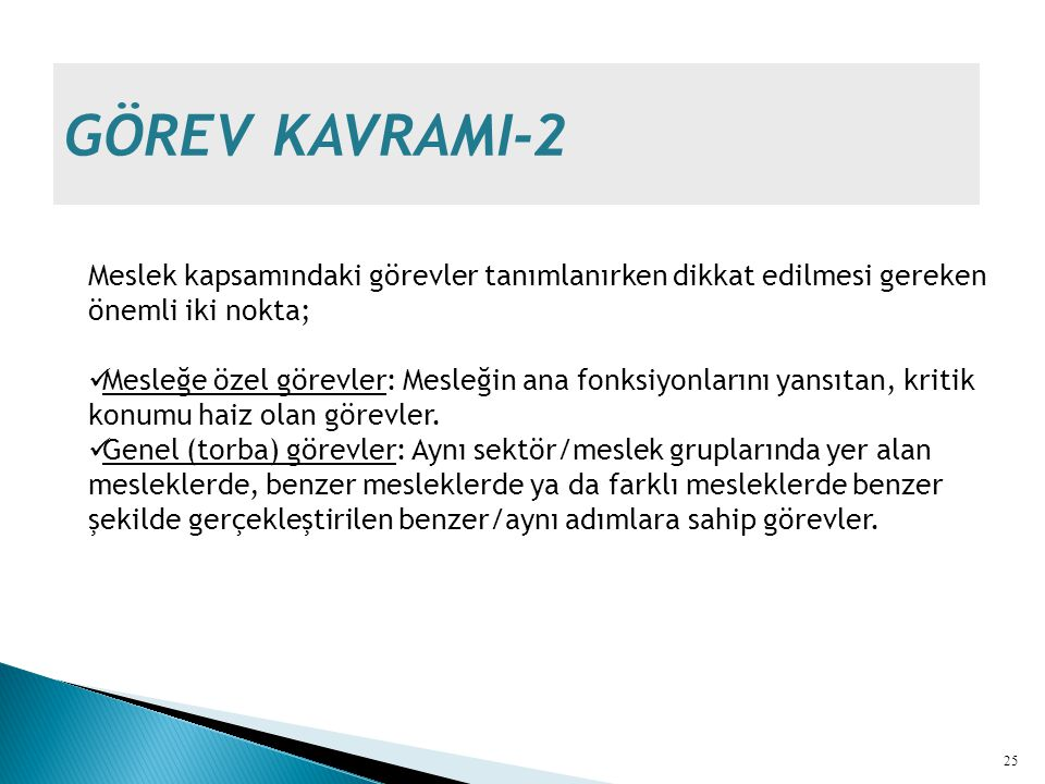 GÖREV KAVRAMI-2 Meslek kapsamındaki görevler tanımlanırken dikkat edilmesi gereken önemli iki nokta;