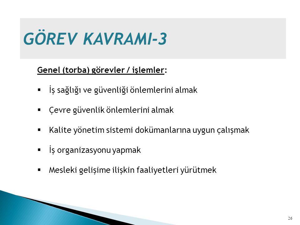 GÖREV KAVRAMI-3 Genel (torba) görevler / işlemler:
