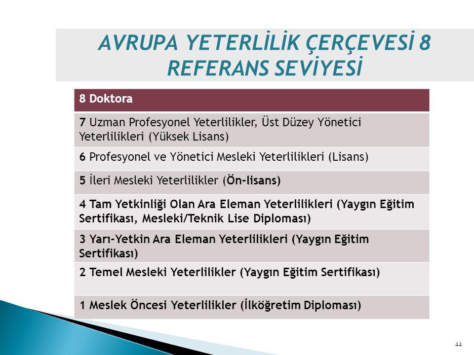 AVRUPA YETERLİLİK ÇERÇEVESİ 8 REFERANS SEVİYESİ