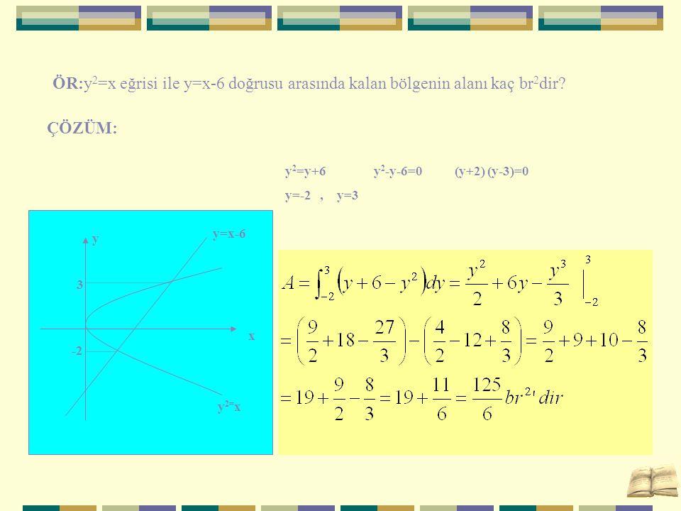 ÖR:y2=x eğrisi ile y=x-6 doğrusu arasında kalan bölgenin alanı kaç br2dir