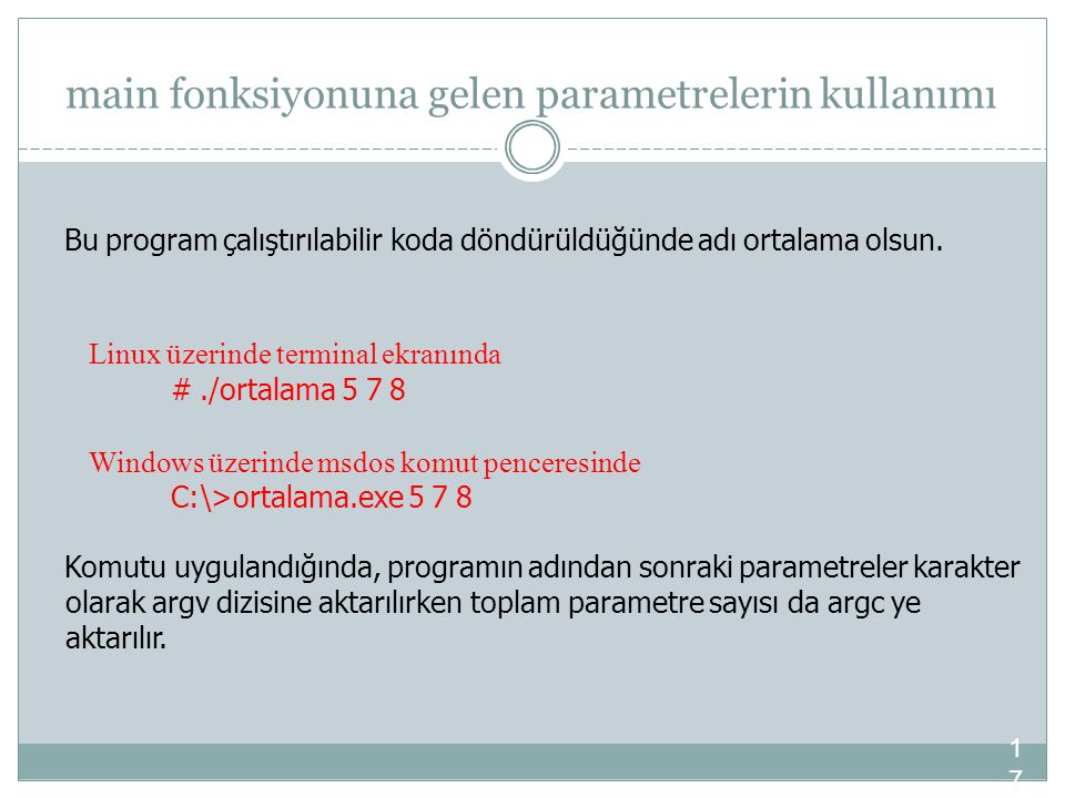 main fonksiyonuna gelen parametrelerin kullanımı