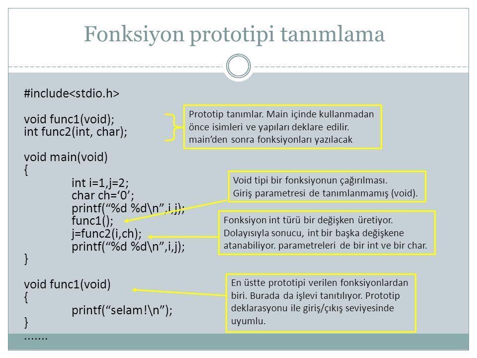 Fonksiyon prototipi tanımlama