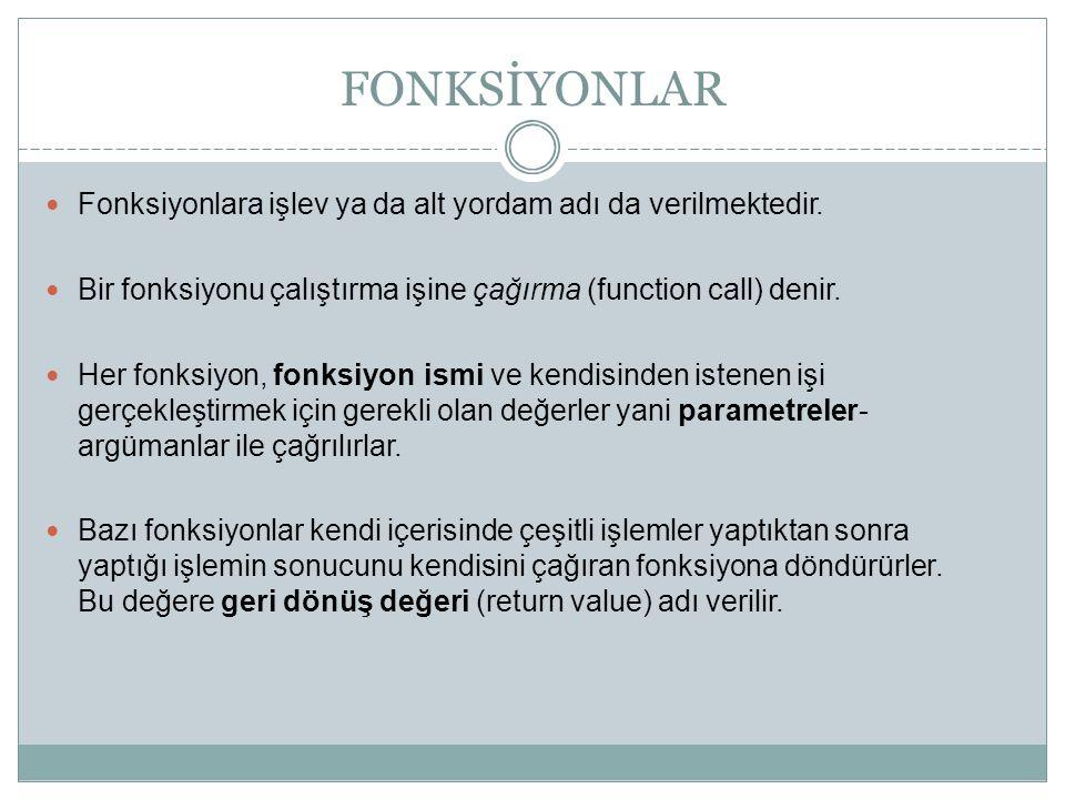 FONKSİYONLAR Fonksiyonlara işlev ya da alt yordam adı da verilmektedir. Bir fonksiyonu çalıştırma işine çağırma (function call) denir.