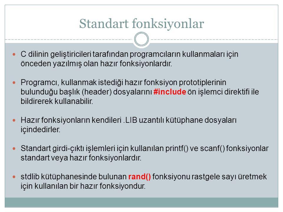 Standart fonksiyonlar