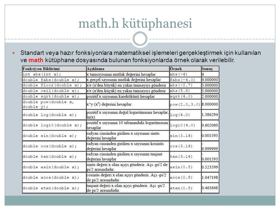 math.h kütüphanesi Standart veya hazır fonksiyonlara matematiksel işlemeleri gerçekleştirmek için kullanılan.