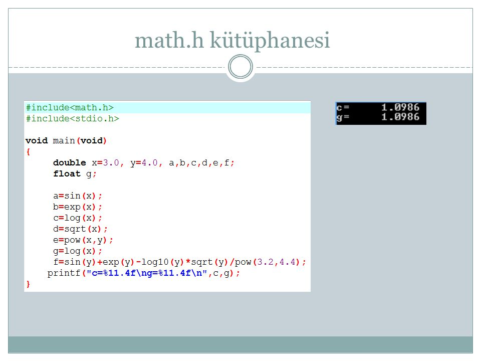math.h kütüphanesi