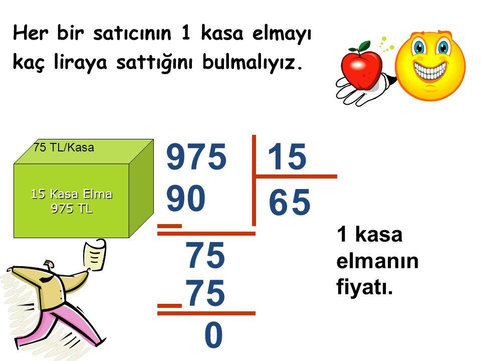 Her bir satıcının 1 kasa elmayı kaç liraya sattığını bulmalıyız.
