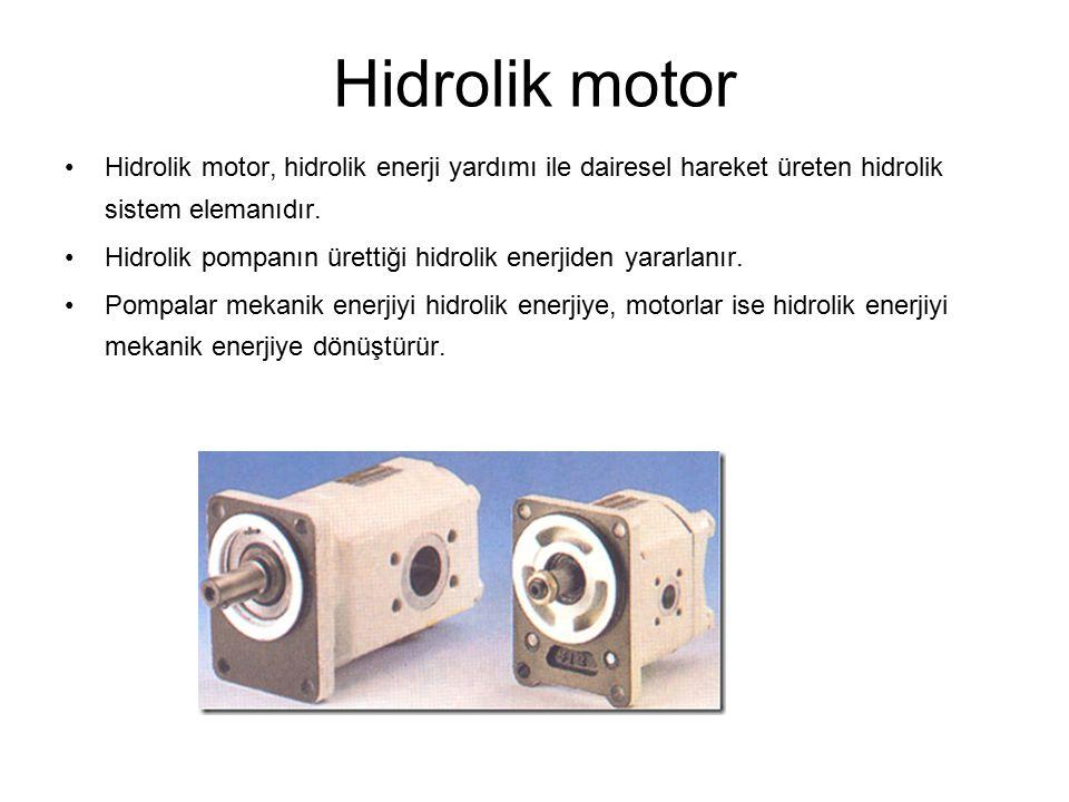 Hidrolik motor Hidrolik motor, hidrolik enerji yardımı ile dairesel hareket üreten hidrolik sistem elemanıdır.