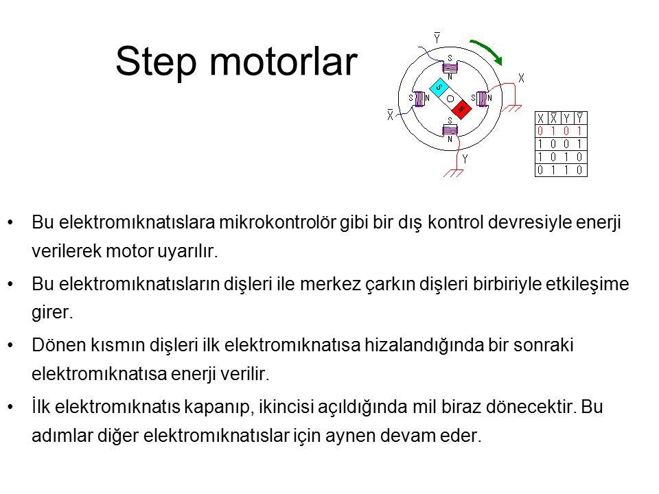 Step motorlar Bu elektromıknatıslara mikrokontrolör gibi bir dış kontrol devresiyle enerji verilerek motor uyarılır.