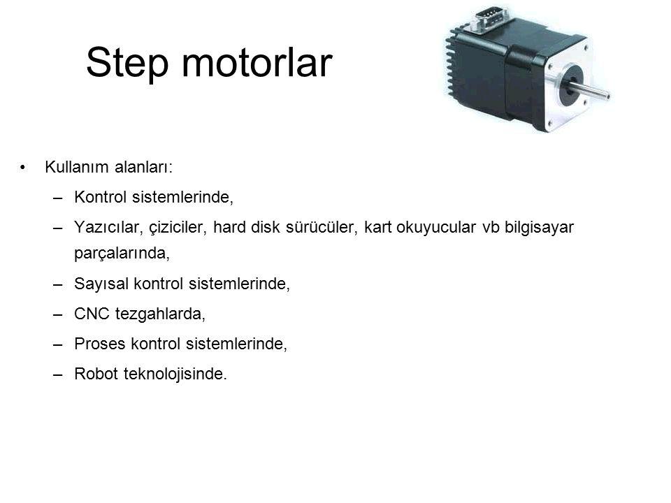 Step motorlar Kullanım alanları: Kontrol sistemlerinde,