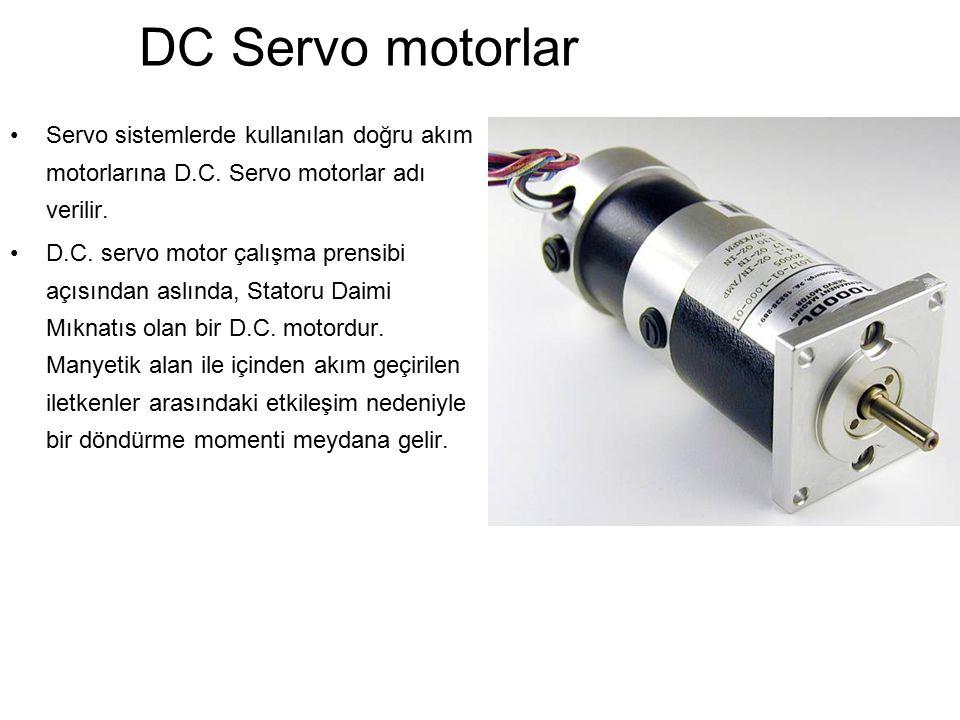 DC Servo motorlar Servo sistemlerde kullanılan doğru akım motorlarına D.C. Servo motorlar adı verilir.