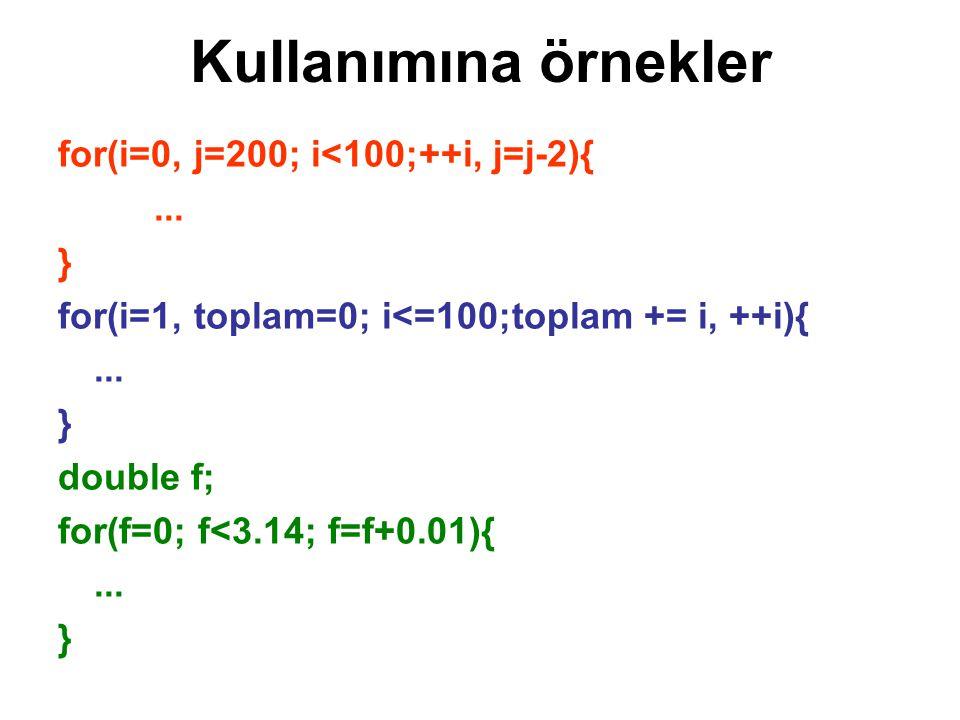 Kullanımına örnekler for(i=0, j=200; i<100;++i, j=j-2){ ... }
