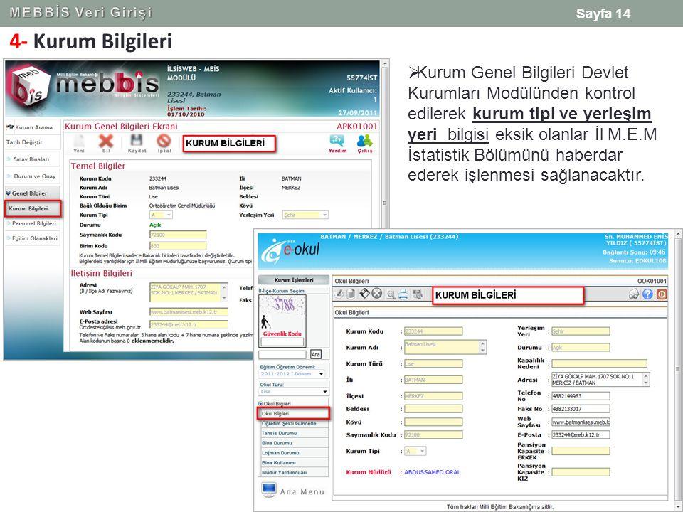 MEBBİS Veri Girişi 4- Kurum Bilgileri.