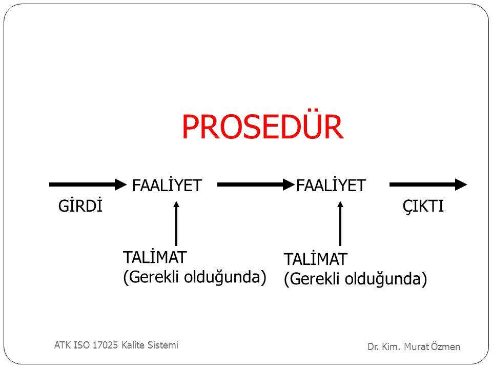 PROSEDÜR FAALİYET FAALİYET GİRDİ ÇIKTI TALİMAT (Gerekli olduğunda)