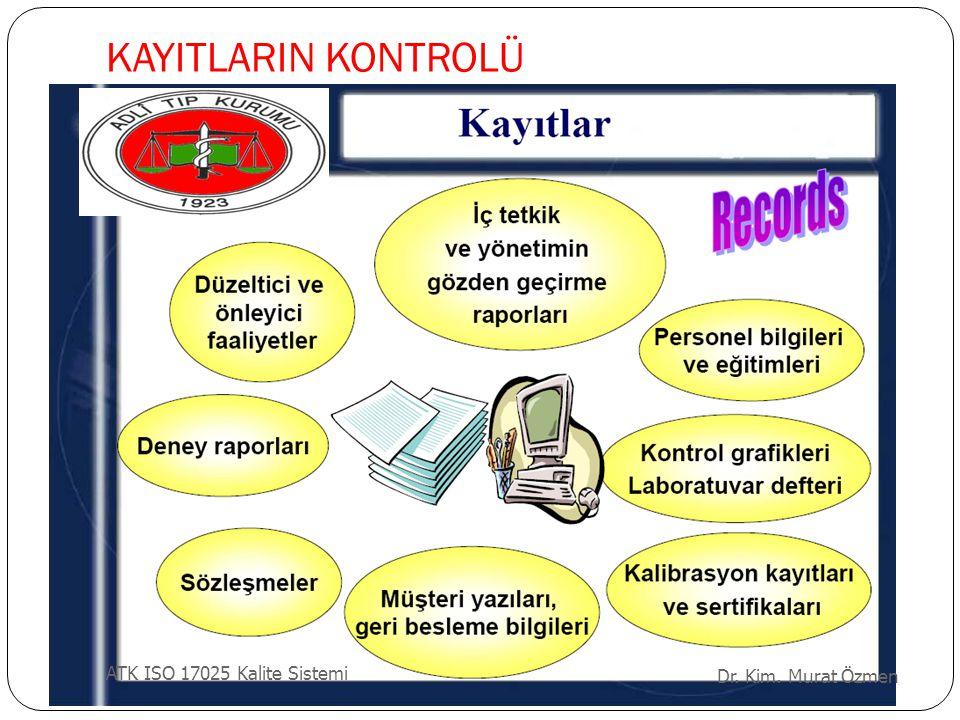 KAYITLARIN KONTROLÜ ATK ISO 17025 Kalite Sistemi Dr. Kim. Murat Özmen
